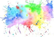 抽象手拉的明亮的水彩污点 库存图片