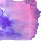 抽象手拉的红色和紫色,蓝色水彩油漆背景,光栅例证 库存图片