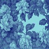 28抽象手拉的花卉样式上升了,葡萄酒 库存图片