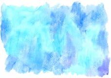 抽象手拉的蓝色水彩污点 库存照片