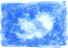 抽象手拉的蓝色水彩污点 免版税库存图片