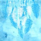 抽象手拉的水彩蓝色背景 库存照片