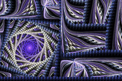 抽象打旋的方形的紫色分数维 库存照片