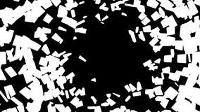抽象打破的玻璃样式:在黑色的白色片断 库存图片