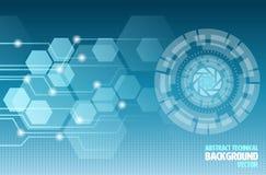 抽象技术例证和蓝色背景 皇族释放例证