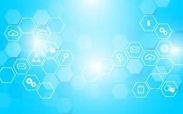 抽象技术和象与六角形在蓝色发光的背景 库存照片