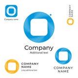 抽象技术商标设计现代干净的网络身份品牌和App象商业IT标志概念集合模板 图库摄影