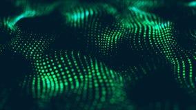 抽象技术流程背景 与动态波浪的未来派小点背景 3d?? 库存例证