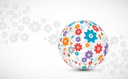 抽象技术球形背景 全球网络概念 皇族释放例证