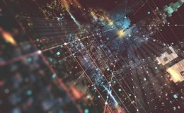 抽象技术背景3D例证 Quantum计算机体系结构 意想不到的夜城市 库存例证
