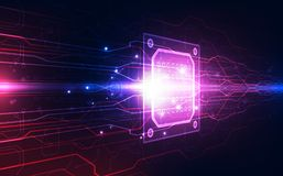 抽象技术芯片处理器背景电路板和html代码, 3D例证蓝色技术背景传染媒介 库存照片