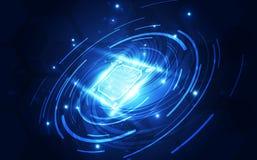 抽象技术芯片处理器背景电路板和html代码, 3D例证蓝色技术背景传染媒介 库存图片