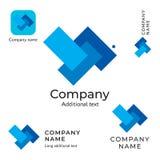 抽象技术长方形商标设计现代干净的身分品牌和App象商业标志概念集合模板 免版税图库摄影