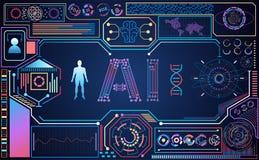 抽象技术ui未来派Ai五颜六色的hud接口holo 库存例证