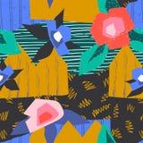 抽象拼贴画样式 当代艺术无缝的几何设计、装饰时尚和花卉海报 ?? 向量例证