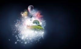 抽象拼贴画 有baloons的浮动海岛 混合画法 混合画法 免版税图库摄影