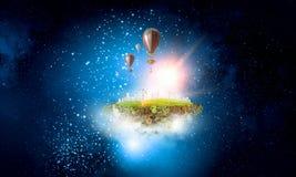 抽象拼贴画 有baloons的浮动海岛 混合画法 免版税库存照片