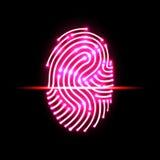 抽象指纹扫描 字母S 证明和安全 皇族释放例证
