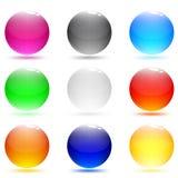抽象按钮玻璃集合发光的万维网 库存图片
