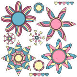 抽象收藏五颜六色的花重点 皇族释放例证