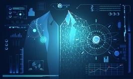 抽象数字式技术科学概念人的数据健康: 库存例证