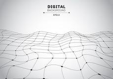 抽象数字技术黑wireframe多角形风景白色背景 被连接的未来派线和的小点 向量例证