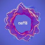 抽象数据球形动荡波浪 微粒流动科学未来派形象化 合理的波纹 皇族释放例证