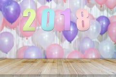 抽象新年好2018年有气球背景 免版税库存照片
