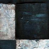 抽象方格的样式绘与丙烯酸酯或油漆在帆布在黑白颜色 库存图片