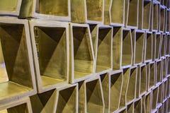 抽象方格的样式-内墙盘区-木头或水泥纹理-六角栅格-装饰修剪-连续的replicat 免版税图库摄影