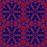 抽象无缝的六角形装饰红色紫色图画 库存照片