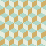 抽象无缝的减速火箭的方格的立方体块颜色样式背景 免版税库存图片