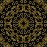 抽象无缝的圈子样式金子和黑色 皇族释放例证
