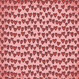 抽象无缝的心脏样式,红色背景 库存照片