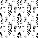 抽象无缝的手拉的样式 与植物的主题的现代难看的东西纹理 单色刷子被绘的背景 免版税库存照片