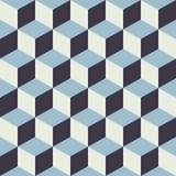 抽象无缝的方格的立方体块颜色蓝色样式背景 图库摄影