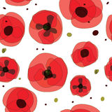 抽象无缝的样式创造性的红色花 免版税库存图片