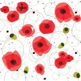 抽象无缝的样式创造性的红色花 免版税库存照片