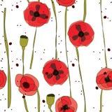 抽象无缝的样式创造性的红色花 库存图片