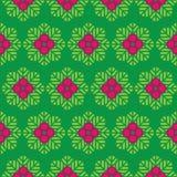 抽象无缝的样式绿色离开和桃红色花 库存图片