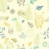 抽象无缝的背景、花、鸟和昆虫 皇族释放例证