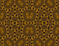 抽象无缝的花卉样式金子褐色 库存例证