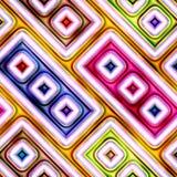 抽象明亮的发光的五颜六色的几何形状无缝的纹理  免版税库存照片
