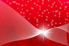 抽象明亮的星和白色曲线在红色背景中 皇族释放例证