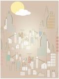 抽象明亮的都市风景云彩升起的简单&# 免版税库存照片