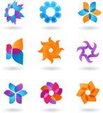 抽象星形图标和徽标的收集 免版税图库摄影