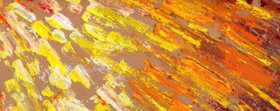 抽象星期日光芒 森林横向油画河 库存照片