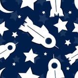 抽象星,火箭,在无缝的重复的样式的月亮 向量 图库摄影