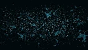 抽象未来派水平的背景 三角和小点的连接 在设计的现代技术 蓝色发光的网  P 图库摄影