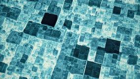 抽象未来派深蓝立方体表面3D动画圈 股票录像